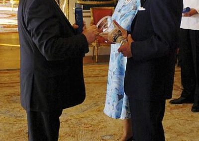 Receiving the Queens Award for Enterprise Promotion at Buckingham Palace
